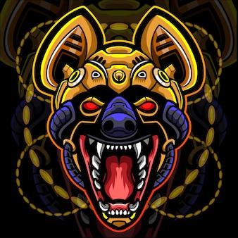 Projektowanie logo esport maskotki robota głowy hieny