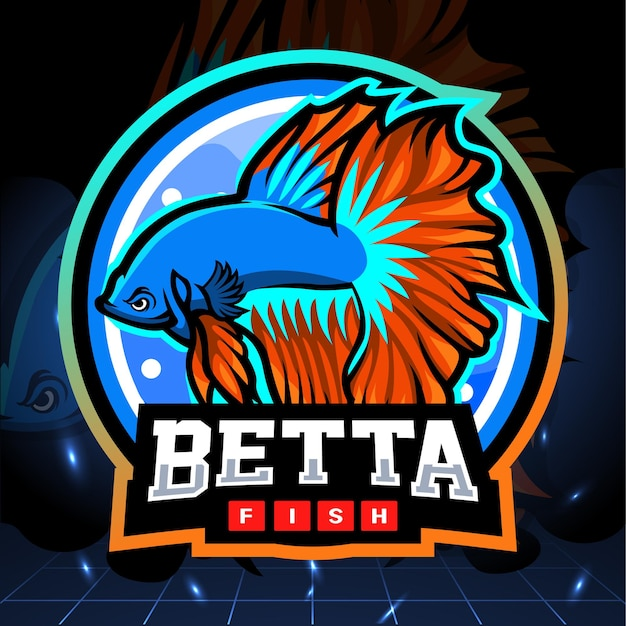 Projektowanie logo esport maskotki ryby półksiężyca betta
