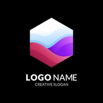 Projektowanie logo fali i sześciokąta, nowoczesny styl logo 3d