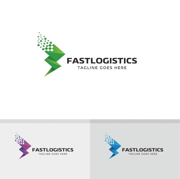 Projektowanie logo fast logistic. dostawa, szybkie, logo strzałki