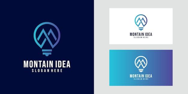 Projektowanie logo górskich żarówek. proste logo rozwiązania przywódczego. koncepcja światła, burza mózgów, misja, strategia, zwycięstwo, kierunek.