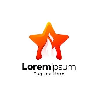 Projektowanie logo gradientu gwiazdy ognia