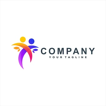 Projektowanie logo gradientu kolorów ludzi
