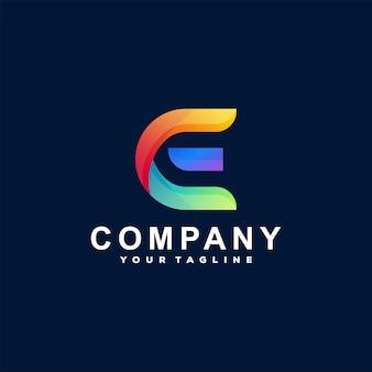 Projektowanie logo gradientu litery e