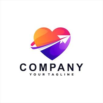 Projektowanie Logo Gradientu Podróży Serca Premium Wektorów