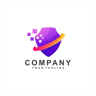 Projektowanie logo gradientu technologii tarczy