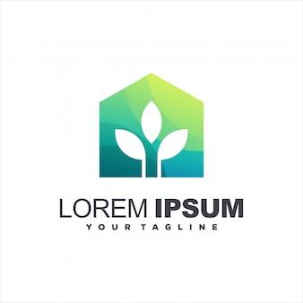 Projektowanie logo gradientu zielonego domu
