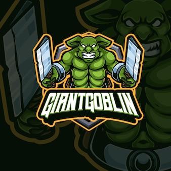 Projektowanie Logo Gry E-sportowej Maskotki Goblina Premium Wektorów