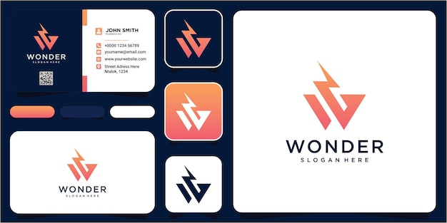 Projektowanie logo grzmot litery w. streszczenie litery w logo. dynamiczna niezwykła czcionka. uniwersalna ikona szybkiego ognia poruszająca się z szybką energią. logotyp wektor flash.