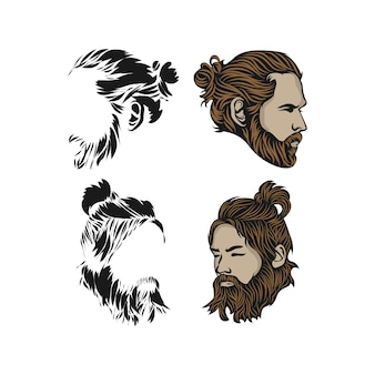 Projektowanie logo hipster man. niesamowite logo człowieka hipster. mężczyzna z logotypem koła i brody.