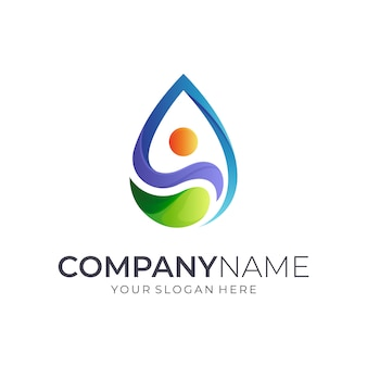 Projektowanie logo human + water drop
