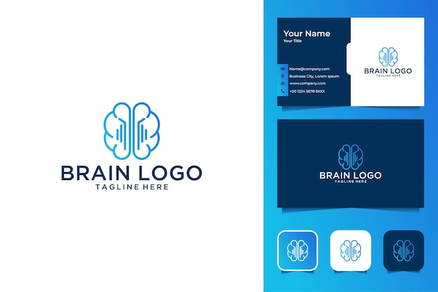Projektowanie logo i wizytówka linii technologii mózgu