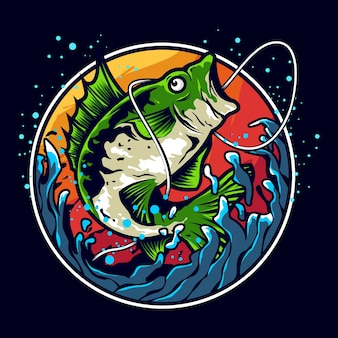 Projektowanie logo ilustracja połowów okonia