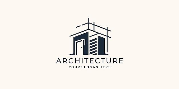 Projektowanie logo inspiracji architekturą. szablon logo architektonicznego, remontowego, budowlanego, budowlanego