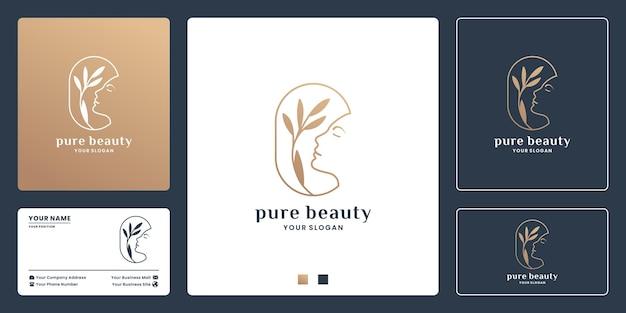 Projektowanie logo kobiecego czystego piękna. połączenie twarzy kobiet z liściem