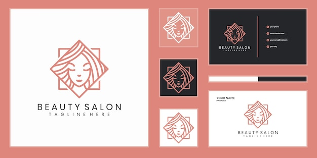 Projektowanie logo kobiety uroda, z koncepcją linii