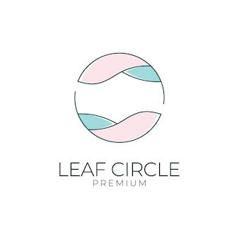 Projektowanie logo koło liści. logo może być używane do spa, salonu piękności, dekoracji, butiku
