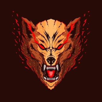 Projektowanie logo kolor ilustracja głowa wilka