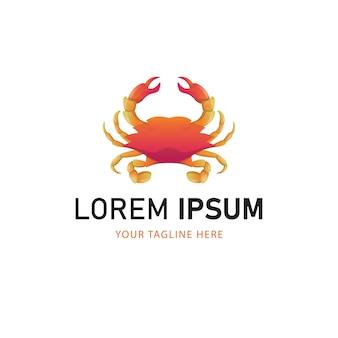 Projektowanie logo kolorowe kraba. gradientowy styl logo zwierząt
