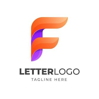 Projektowanie logo kolorowe litery f.