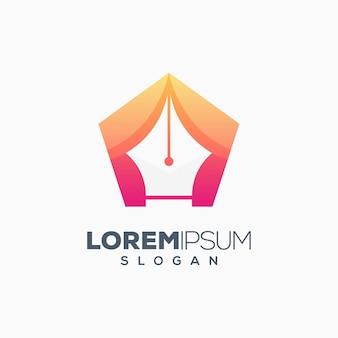 Projektowanie logo kolorowe pióro