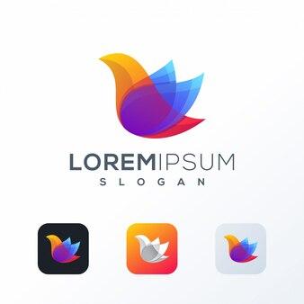 Projektowanie logo kolorowe ptak