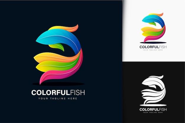 Projektowanie logo kolorowe ryby gradientu