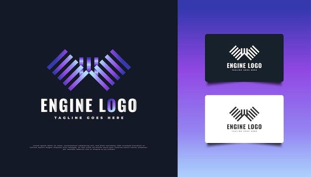 Projektowanie logo kolorowe silnika. logo tłoka dla przemysłu maszynowego lub serwisu naprawczego