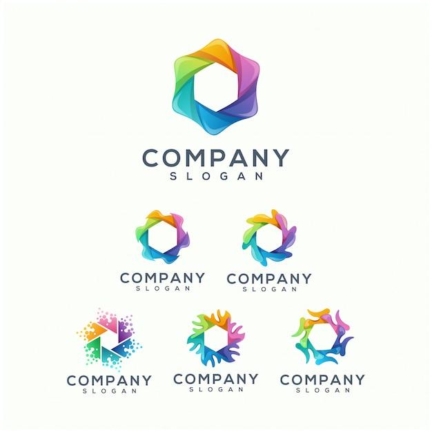 Projektowanie logo kolorowe wielokąta