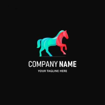 Projektowanie logo kolorowy koń. logo animal gradient style