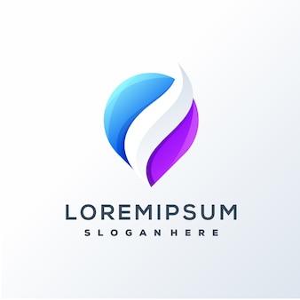 Projektowanie logo kolorowy liść pin