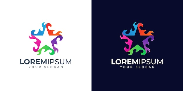 Projektowanie logo kolorowy ogień i gwiazda