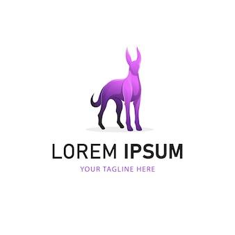 Projektowanie logo kolorowy pies. gradientowy styl logo zwierząt
