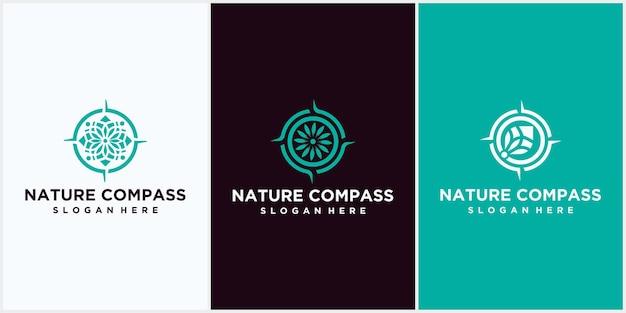 Projektowanie logo kompasu natury. symbol ikony kompasu z naturalną kombinacją liści, kompas z szablonem wektora projektu logo przyrody.