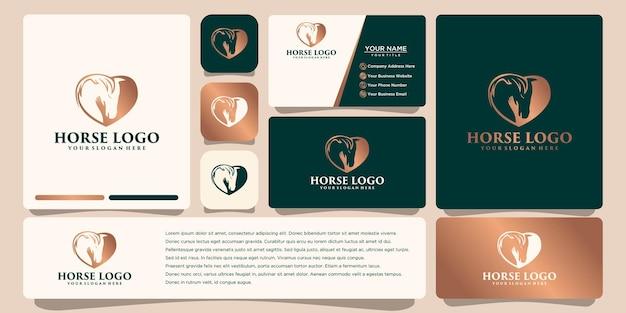 Projektowanie logo konia z wektorem szablonu wizytówki