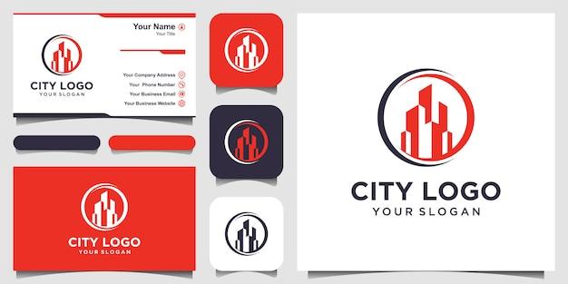 Projektowanie logo konstrukcji budynku inspiracja. projekt logo i wizytówki