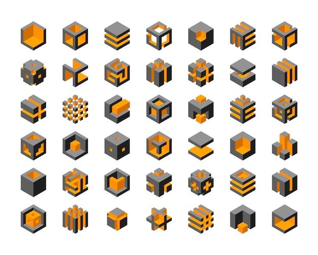Projektowanie logo kostki. kostki 3d zestaw elementów graficznych szablonu.