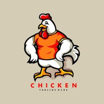 Projektowanie logo kreskówka maskotka kurczaka z nowoczesnym stylem ilustracji