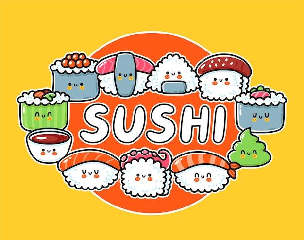 Projektowanie logo kreskówka sushi. kolekcja ładny zabawny zestaw sushi.
