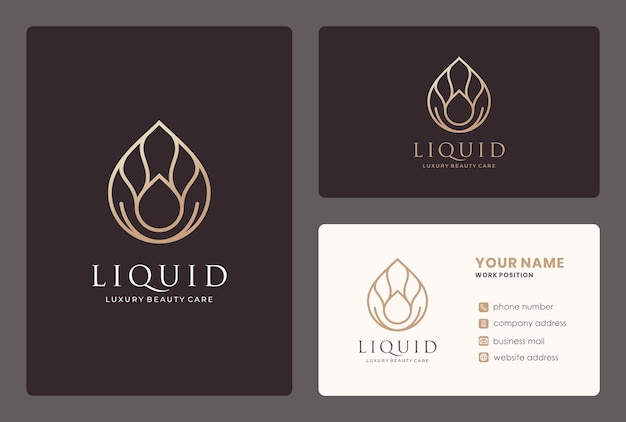 Projektowanie logo kropli wody / naturalnego oleju z szablonem wizytówki.