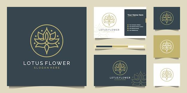 Projektowanie logo kwiat lotosu w stylu sztuki linii. logo może być używane do spa, salonu piękności, dekoracji, butiku, kosmetyków i wizytówki