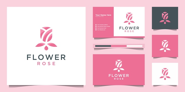 Projektowanie logo kwiat róży i wizytówki