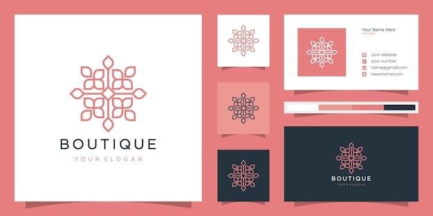 Projektowanie logo kwiat w stylu grafiki liniowej. logo i szablon wizytówki