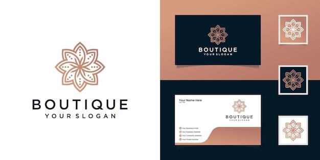 Projektowanie logo kwiat w stylu grafiki liniowej. logo może być używane do spa, salonu kosmetycznego, dekoracji, butiku. i wizytówki