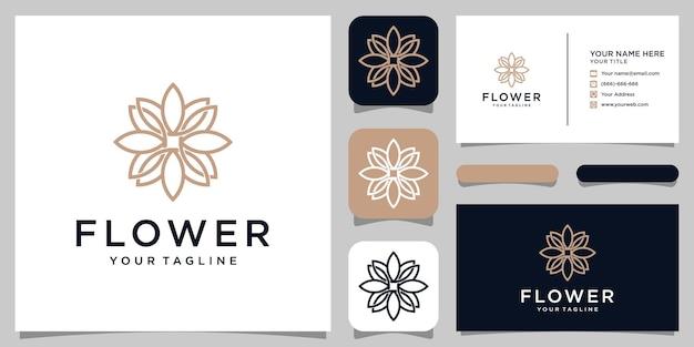 Projektowanie logo kwiat w stylu grafiki liniowej. logo może być używane do spa, salonu piękności, dekoracji, butiku. i wizytówkę