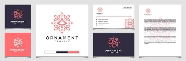 Projektowanie logo kwiat w stylu grafiki liniowej. logo, wizytówki i papier firmowy