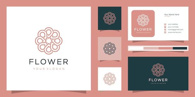 Projektowanie logo kwiat w stylu grafiki liniowej. może być używany do spa, salonu piękności, dekoracji, butiku.