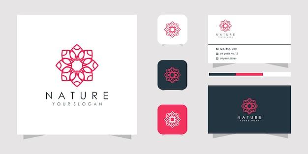 Projektowanie logo kwiat w stylu grafiki liniowej.