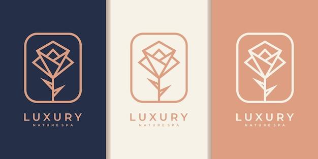 Projektowanie logo kwiat w stylu sztuki linii. loga mogą być używane w spa, salonie kosmetycznym