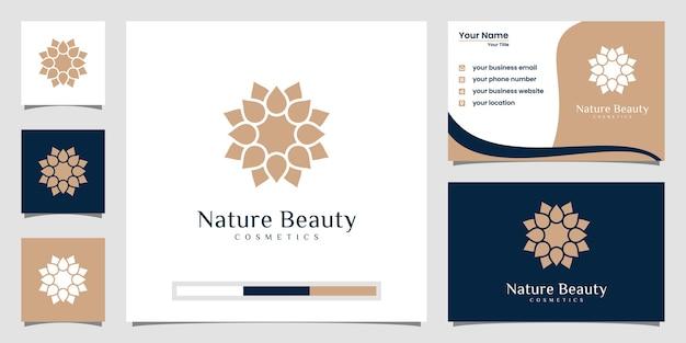 Projektowanie logo kwiat z wizytówką. logo może być używane do spa, salonu piękności, butiku.